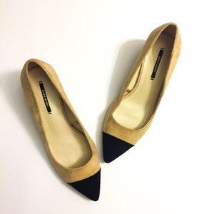 Zara Basic Cap Toe Suede Heel